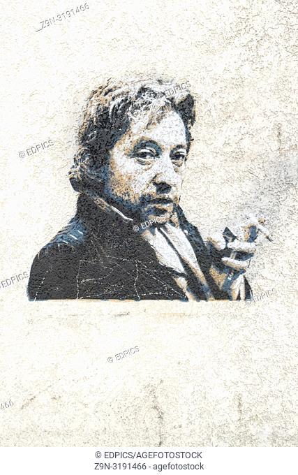 stencil portrait of french singer-songwriter serge gainsbourg, paris, ile de france, france