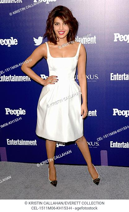 Priyanka Chopra (wearing a Zac Posen dress) at arrivals for Entertainment Weekly and People Upfronts Party, The High Line Hotel, New York, NY May 11, 2015