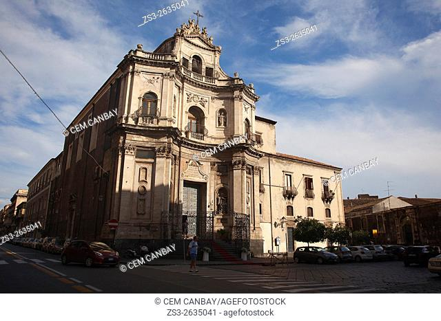 Chieasa Di S. Placido Church at the old town, Catania, Sicily, Italy, Europe