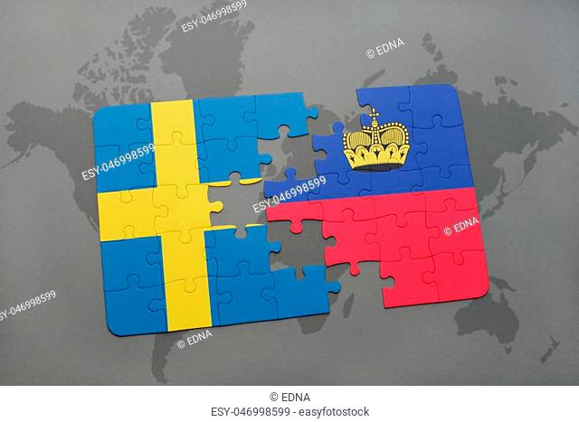 puzzle with the national flag of sweden and liechtenstein on a world map background. 3D illustration