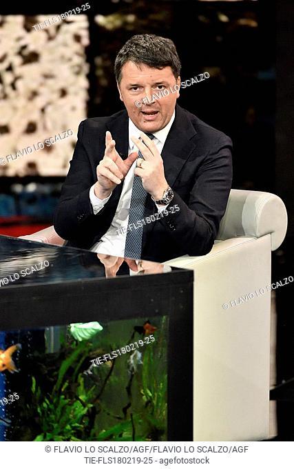 Italian former Prime Minister Matteo Renzi during the tv show 'Che tempo che fa' Milan, ITALY-17-02-2019