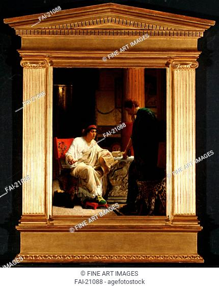 Vespasian hearing from one of his generals of the taking of Jerusalem by Titus. Alma-Tadema, Sir Lawrence (1836-1912). Oil on wood. Neoclassicism