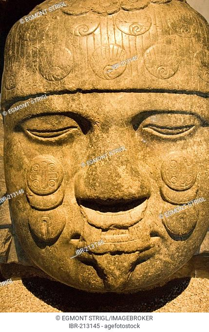 Prehispanic stonehead, Museum of Anthropology, Mexico City, Mexico