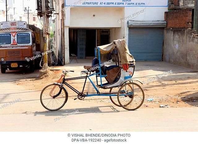 Man Sleeping On Tricycle Rickshaw Bilaspur Chattisgarh Uttaranchal India Asia