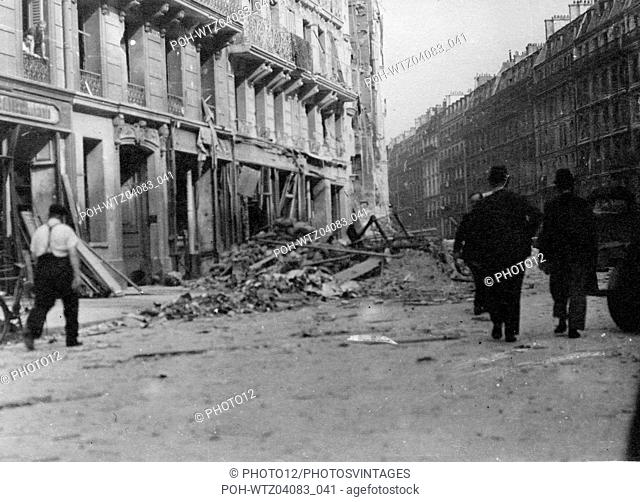 Rubble in a street of Paris, at the Liberation World War II Liberation of Paris