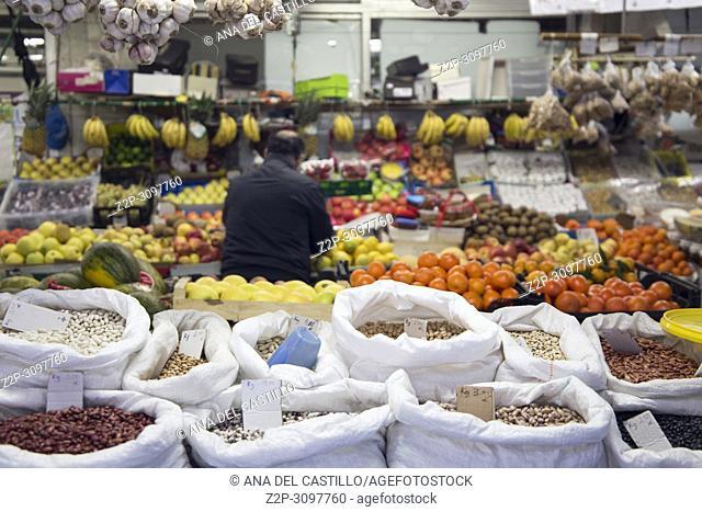 Bolhao municipal market in Porto, Portugal on January 8, 2018