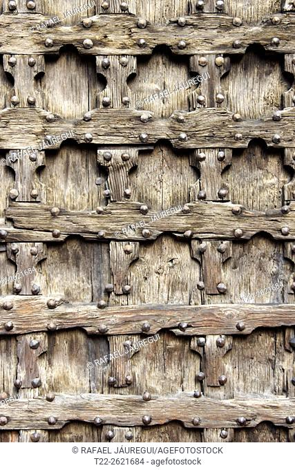 Verona (Italy). Detail of a wooden door in the historic center of the city of Verona