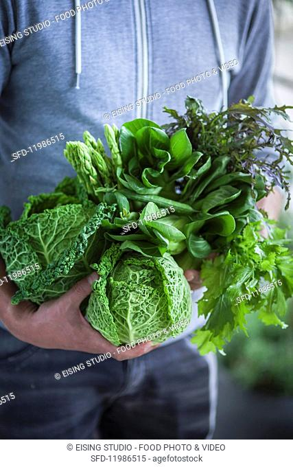 Green superfood vegetables: cabbage, asparagus and salad leaves