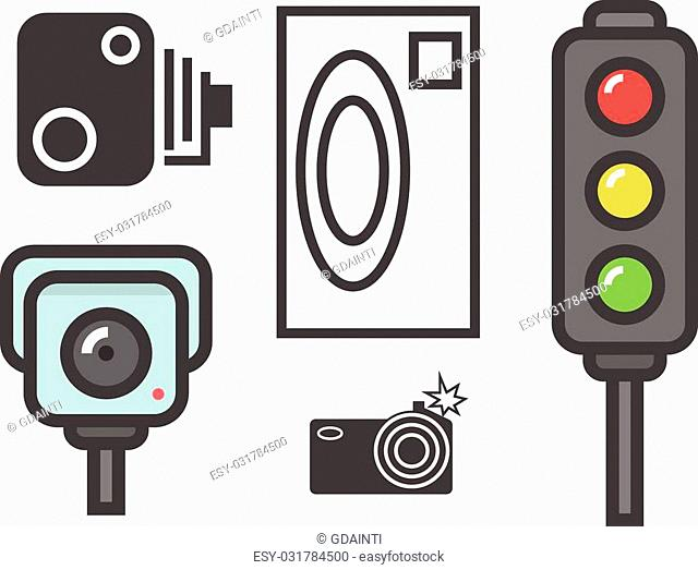 vector flat design illustration of road speed camera signs and traffic lights isolated on white