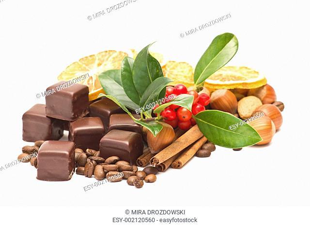 chocolate, coffee beans, cinnamon, orange