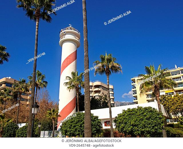 Lighthouse and high-rise buildings on the promenade, Marbella. Malaga province Costa del Sol, Andalusia, Spain Europe