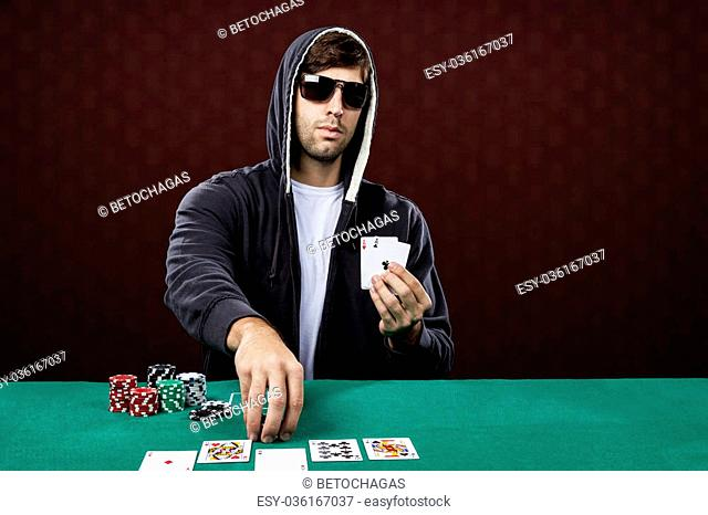 Poker player, on a red background