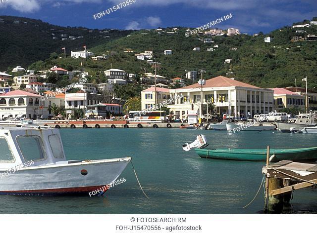 U.S. Virgin Islands, St. Thomas, Caribbean, U.S.V.I USVI, Virgin Islands, Boats buoyed in the harbor in Charlotte Amalie the territorial capital of the US...