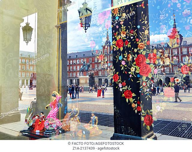 Reflections on a souvenir shop. Plaza Mayor. Madrid. Spain