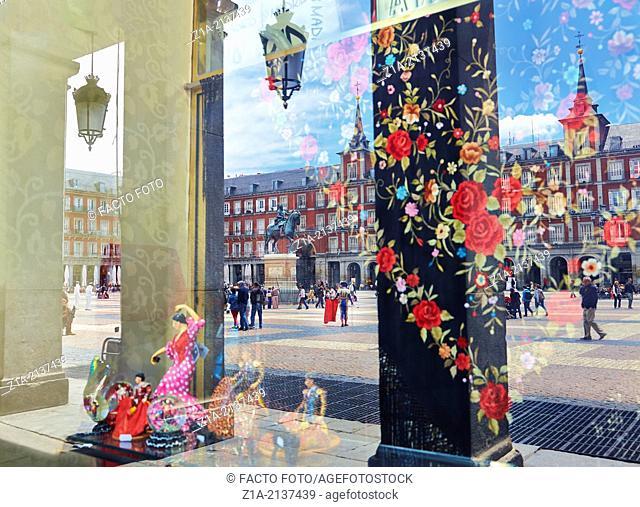 Reflections on a souvenir shop. Plaza Mayor. Madrid. Spain