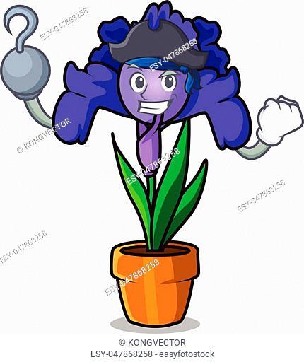 Pirate iris flower character cartoon vector illustration