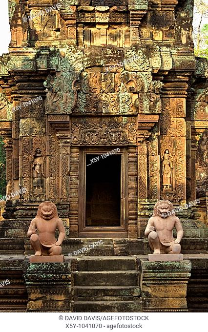 Banteay Srei or Banteay Srey is a 10th century Cambodian temple dedicated to the Hindu god Shiva, Angkor, Cambodia