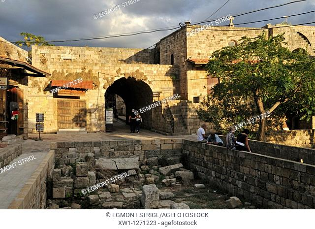 tourists in the historic oldtown of Byblos, Unesco World Heritage Site, Jbail, Lebanon, Middle east, West Asia