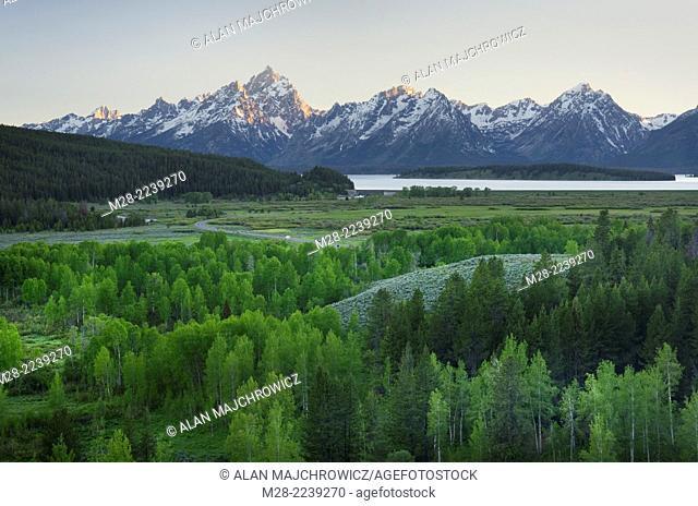 The Teton range seen from Oxbow Bend, Grand Teton National Park Wyoming
