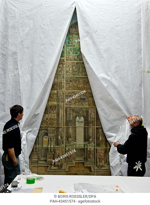 Curtains hang on the work 'Arch of Maximilian I' by Albrecht Duerer at the Staedel Museum in Frankfurt Main, Germany, 17 October 2013
