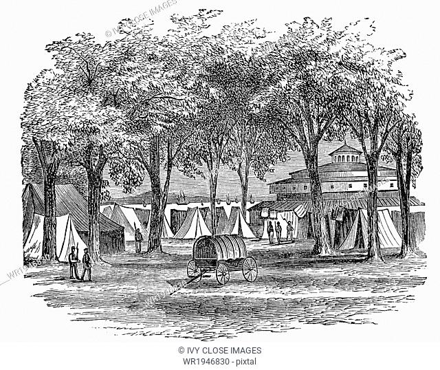 This was the scene in New York in May 1861. Among the stately trees at the Battery, at its lower extremity in new York City, white tents were standing