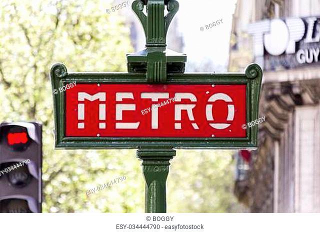 Metro sign in Paris, France