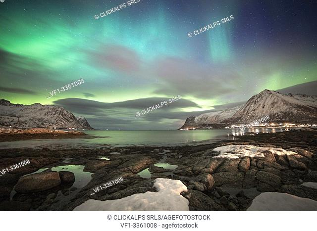 Norvegian's fjord by night, Lofoten Islands, Svolvear district, Nordland, Norway