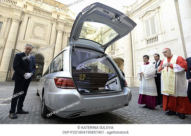 Cardinal Beran's remains were taken from Vatican St Peter's Basilica, April 19, 2018. They will be flown to Prague and then interred in St Vitus Cathedral
