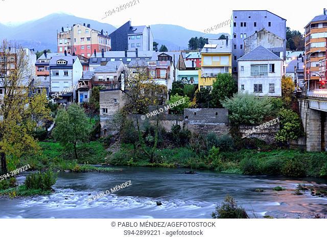 View of facades over Sil river in O Barco de Valdeorras, Orense, Spain