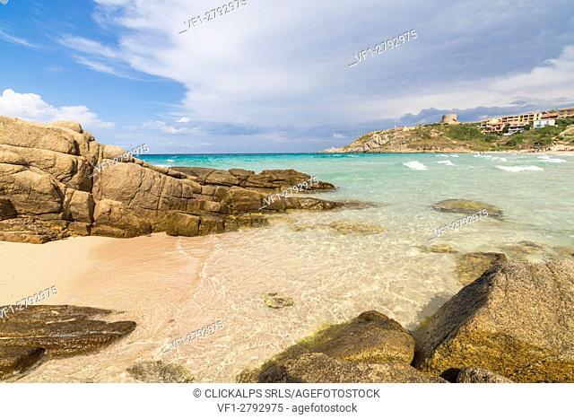 The turquoise sea frames the village surrounded by sandy beach Santa Teresa di Gallura Province of Sassari Sardinia Italy Europe