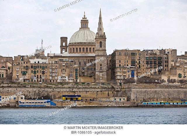 View of St Pauls Church, Valletta, Malta, Europe