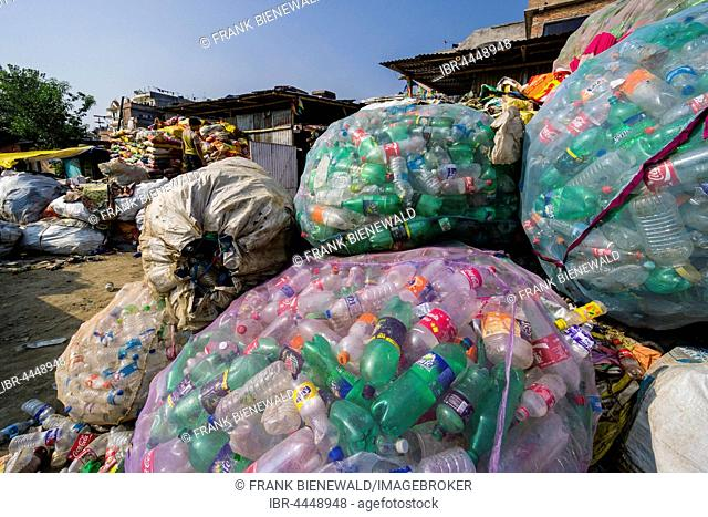 Big nets full of empty plastic bottles for recycling, Kathmandu, Nepal