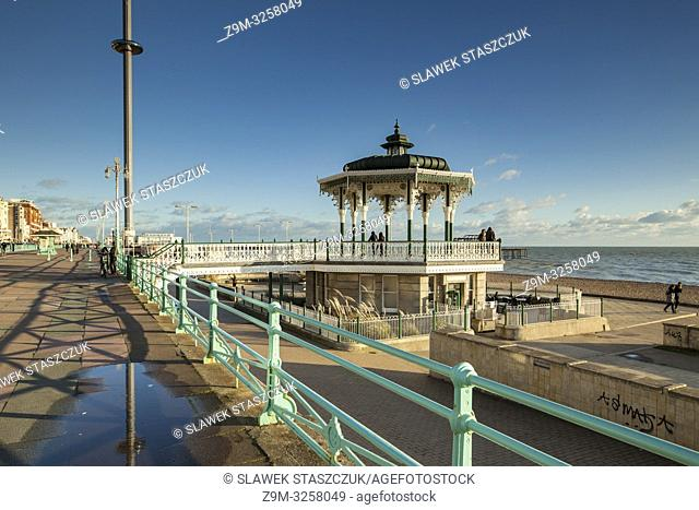 Winter afternoon at the Bandstand on Brighton seafront, East Sussex, England