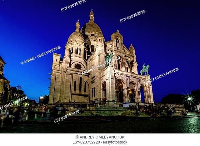 Sacre Coeur Cathedral on Montmartre Hill at Dusk, Paris, France