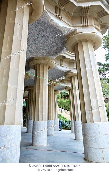 Spain, Catalonia, Barcelona, Park Guell, Hypostyle Hall, Concrete columns