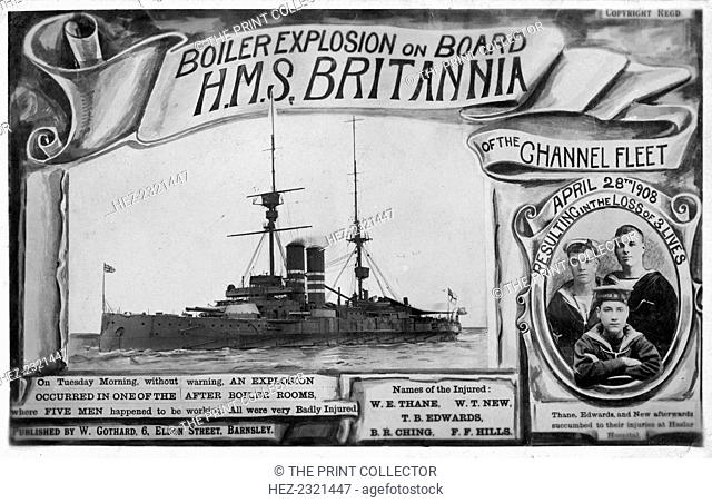 Boiler explosion on board HMS 'Britannia', 28th April 1908. The explosion, which occurred in one of the warship's aft boiler rooms
