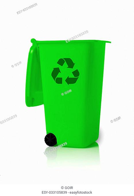 Open trash bin with recycle symbol isolated on white