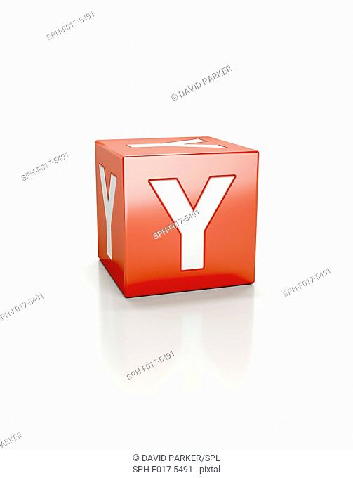 Red cube with letter Y