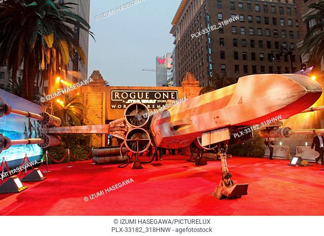"A replica X-wing fighter 12/10/2016 The World Premiere of """"Rogue One: A Star Wars Story"""" held at the Pantages Theatre in Los Angeles"