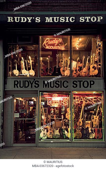 The USA, New York City, town, street, guitars, music, America