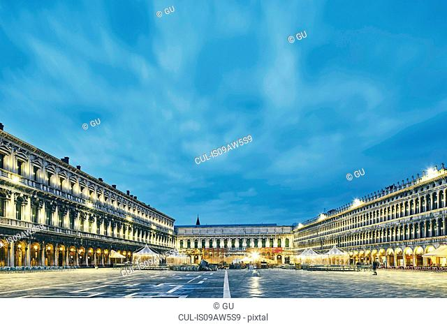 Floodlit St Marks Square at dusk, Venice, Italy