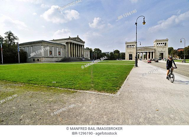 Koenigsplatz square with the Antikensammlung collection of classical antiquities and Doric Propylcea gateway building, Munich, Bavaria, Germany, Europe