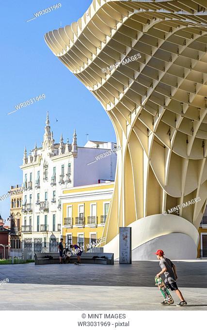 Metropol Parasol, a curved wooden parasol structure, modern architecture in La Encarnacio Square, Seville