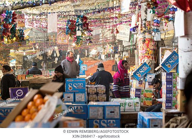 Downtown market in New Delhi, India
