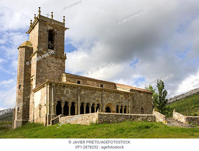 Church of San Julián and Santa Basilisa. Romanesque portico. Rebolledo de la Torre. Las Loras World Geopark. Burgos. Castilla y León. Spain