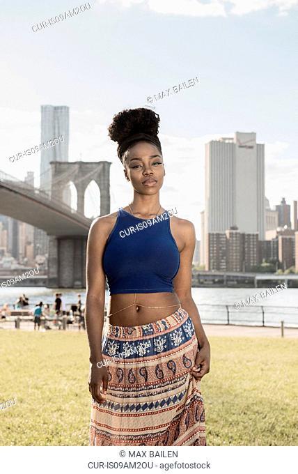 Young woman, Brooklyn Bridge Park, New York, USA