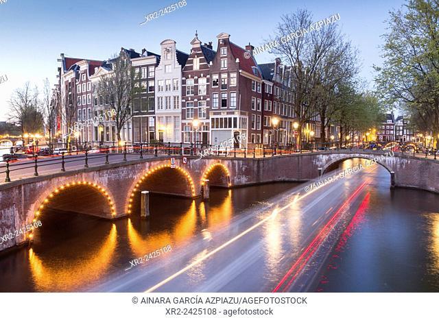 Leidsegracht at night, Amsterdam, Holland