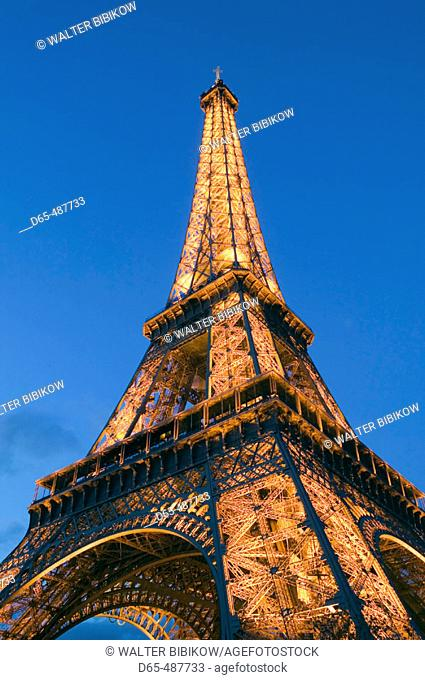 Evening View of the Eiffel Tower from the Southwest. Eiffel Tower Area. Paris. France