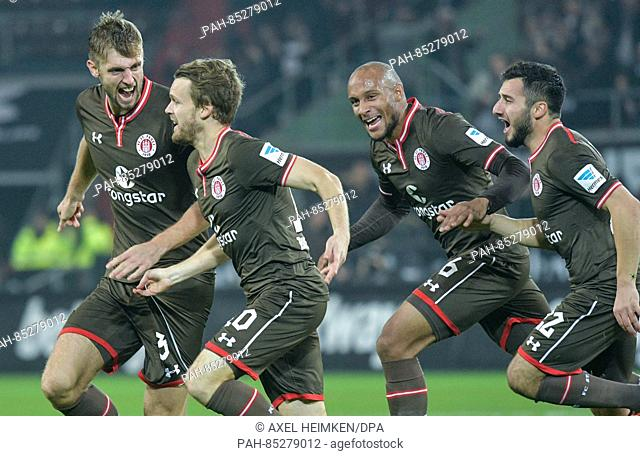 L-R: St. Pauli's Lasse Sobiech, Christopher Buchtmann, Christopher Avevor und Sahin Cenk celebrate after giving their side a 1:0 lead in the 2nd Bundesliga...