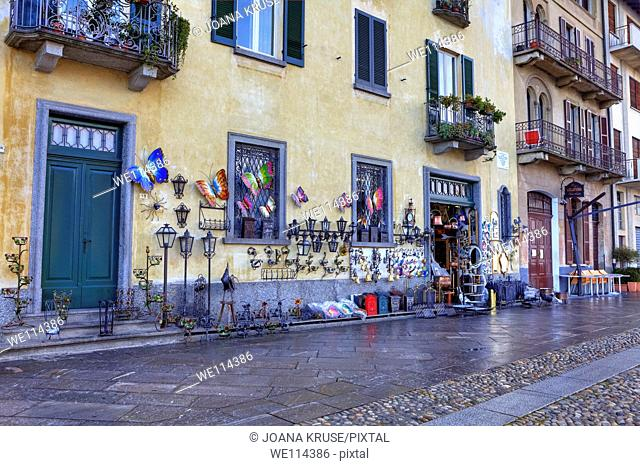 typical shop for tourist in Cannobio, Verbania, Piedmont, Italy with decorative items
